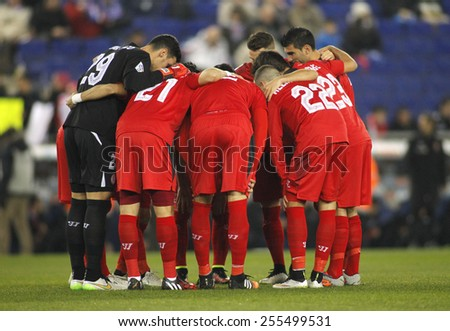 BARCELONA - JAN, 22: Sevilla FC players before Spanish League match against RCD Espanyol at the Estadi Cornella on January 22, 2015 in Barcelona, Spain - stock photo