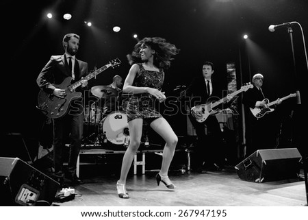 BARCELONA - JAN 9: The Excitements (soul band) performs at Apolo venue on January 9, 2015 in Barcelona, Spain. - stock photo