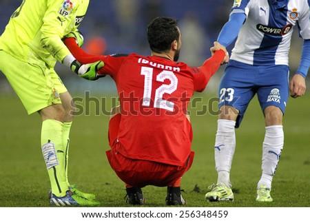 BARCELONA - JAN, 22: Vicente Iborra of Sevilla FC during spanish League match against RCD Espanyol at the Estadi Cornella on January 22, 2015 in Barcelona, Spain - stock photo