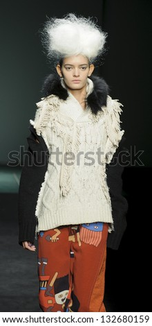 BARCELONA - JANUARY 30: A model walks on the Alexis Reyna catwalk during the 080 Barcelona Fashion runway on January 30, 2013 in Barcelona, Spain.
