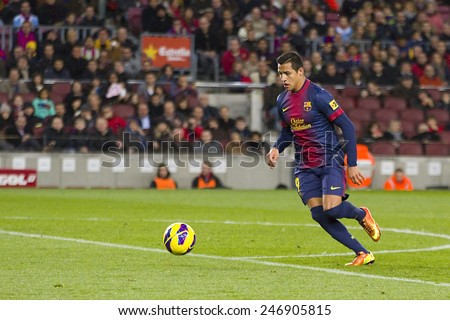 BARCELONA - JANUARY 27: Alexis Sanchez of FCB in action at the Spanish League match between FC Barcelona and Osasuna, final score 5 - 1, on January 27, 2013, in Barcelona, Spain. - stock photo