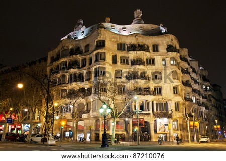 BARCELONA - JANUARY 20: Antonio Gaudi's famous Casa Mila, commonly referred to as La Pedrera (Catalan for 'the Quarry') on January 20, 2010 in Barcelona, Spain - stock photo