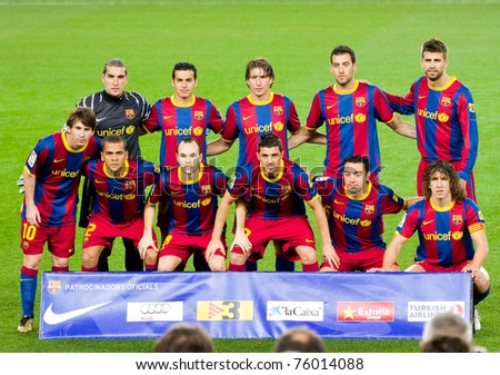 BARCELONA - JANUARY 12: Barcelona players before the Spanish cup match between FC Barcelona and Real Betis, final score 5 - 0.  January 12, 2011 in Nou Camp stadium, Barcelona, Spain. - stock photo
