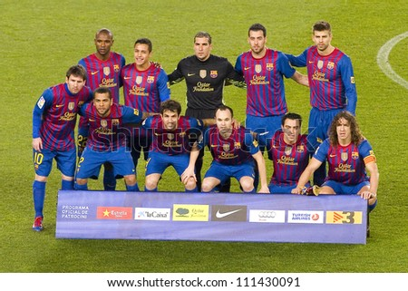 BARCELONA - JANUARY 25: Barcelona players posing for photos  before the Spanish Cup match between FC Barcelona and Real Madrid, final score 2 - 2, on January 25, 2012, in Camp Nou, Barcelona, Spain. - stock photo
