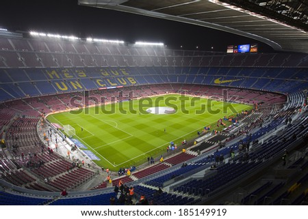 BARCELONA - JANUARY 29: Camp Nou stadium before the Copa del Rey - Spanish Cup - match between FC Barcelona and Levante, 5-1, under an intense rain, on January 29, 2014, in Barcelona, Spain. - stock photo