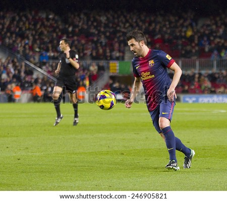BARCELONA - JANUARY 27: David Villa of FCB in action at the Spanish League match between FC Barcelona and Osasuna, final score 5 - 1, on January 27, 2013, in Barcelona, Spain. - stock photo