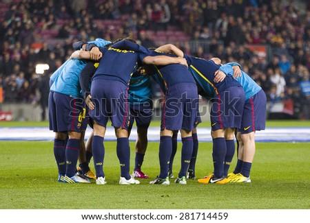 BARCELONA - JANUARY 27: FCB players before the Spanish League match between FC Barcelona and Osasuna, final score 5 - 1, on January 27, 2013, in Barcelona, Spain. - stock photo