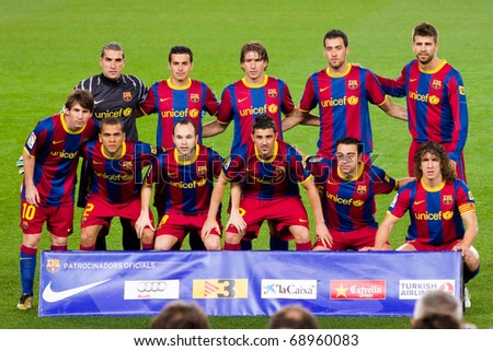 BARCELONA - JANUARY 12: Football Club Barcelona players. January 12, 2011 in Nou Camp soccer stadium, Barcelona (Spain). - stock photo