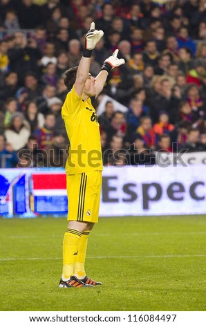 BARCELONA - JANUARY 25: Iker Casillas in action at the Spanish Cup match between FC Barcelona and Real Madrid, final score 2 - 2, on January 25, 2012, in Camp Nou, Barcelona, Spain.