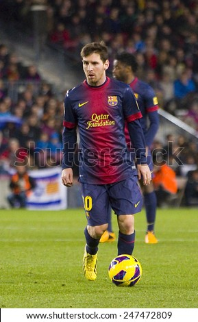 BARCELONA - JANUARY 27: Lionel Messi of FCB in action at the Spanish League match between FC Barcelona and Osasuna, final score 5 - 1, on January 27, 2013, in Barcelona, Spain.