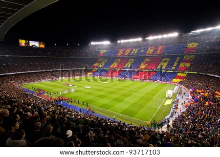 BARCELONA - JANUARY 25: Panoramic view of Camp Nou stadium before the Spanish Cup match between FC Barcelona and Real Madrid, 2 - 2, on January 25, 2012, in Barcelona, Spain.