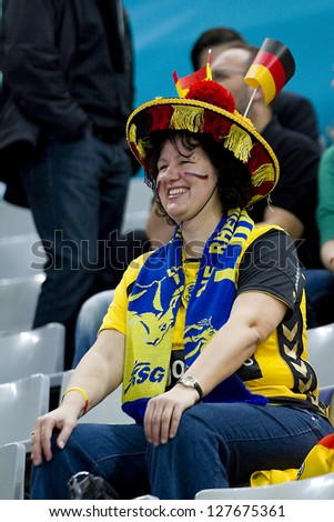 BARCELONA - JANUARY 25: Unidentified German supporter at the Handball World Championship semi-final between Spain and Slovenia, final score 26-22, on January 25, 2013, in Barcelona, Spain. - stock photo