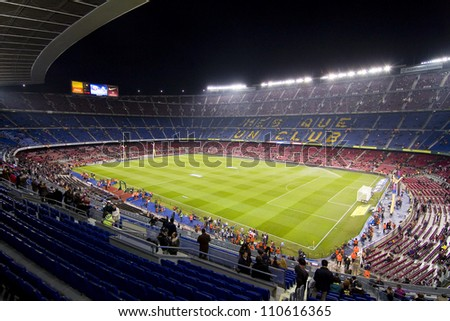 BARCELONA - JANUARY 25: Unidentified supporters during the Spanish Cup match between FC Barcelona and Real Madrid, final score 2 - 2, on January 25, 2012, in Camp Nou stadium, Barcelona, Spain.