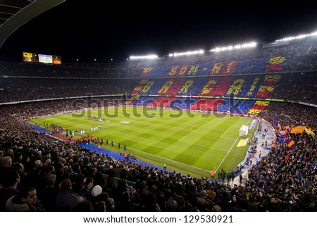 BARCELONA - JANUARY 25: View of Camp Nou stadium before the Spanish Cup match between FC Barcelona and Real Madrid, final score 2 - 2, on January 25, 2012, in Barcelona, Spain.