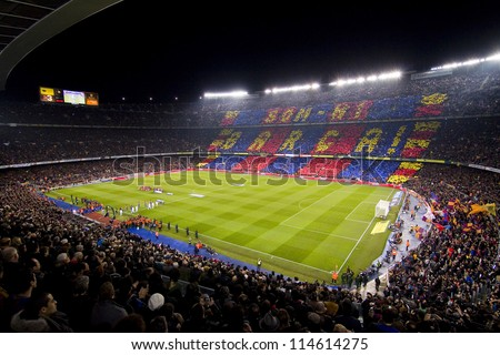 BARCELONA - JANUARY 25: View of Camp Nou stadium during Spanish Cup match between FC Barcelona and Real Madrid, final score 2 - 2, on January 25, 2012, in Barcelona, Spain.