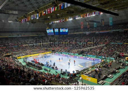 BARCELONA - JANUARY 25: View of Palau Sant Jordi stadium during the Handball World Championship semi-final between Denmark and Croatia, final score 30-24, on January 25, 2013, in Barcelona, Spain. - stock photo