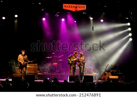 BARCELONA - JUL 24: Abbey Road (band tribute to the Beatles) performs at Golden Revival Festival on July 24, 2014 in Barcelona, Spain. - stock photo