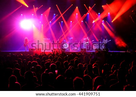 BARCELONA - JUL 4: Crowd in a concert at Vida Festival on July 4, 2015 in Barcelona, Spain. - stock photo