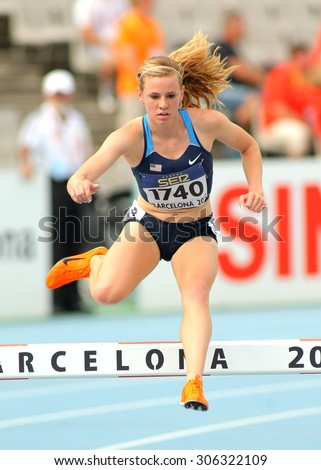 BARCELONA - JULY, 10: Courtney Frerichs of United States during 3000 meters Steeplechase of the 20th World Junior Athletics Championships at the Olympic Stadium on July 10, 2012 in Barcelona, Spain - stock photo