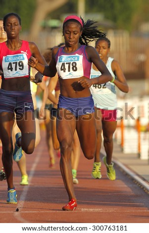 BARCELONA - JULY, 8: Cuban athlete Rose Mary Almanza during 1500 meters of the Athletics International Meeting of Catalan Federation at the Serrahima Stadium on July 8 2015 in Barcelona, Spain - stock photo