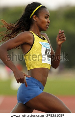 BARCELONA - JULY, 8: Ethiopian athlete Genzebe Dibaba during 1500 meters of the Athletics International Meeting of Catalan Federation at the Serrahima Stadium on July 8 2015 in Barcelona, Spain
