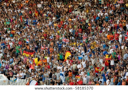 BARCELONA - JULY 28: European Athletics Championships Barcelona 2010. In the picture, some supporters in the Olympic Stadium Lluis Companys. July 28, 2010 in Barcelona (Spain). - stock photo