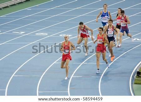 BARCELONA - JULY 28: European Athletics Championships Barcelona 2010. Semi-final of 1500 meters for men. The winner of this race was Reyes Estevez (Spain). July 28, 2010 in Barcelona (Spain). - stock photo
