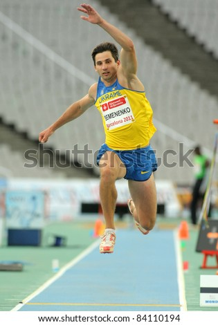 BARCELONA - JULY, 22: Evgeniy Semenenko of Ukraine in action on Triple Jump Event of Barcelona Athletics meeting at the Olympic Stadium on July 22, 2011 in Barcelona, Spain
