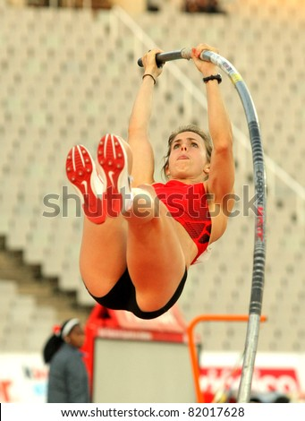 BARCELONA - JULY 22: Kate Dennison of Great Britain in action during Pole Vault Event of Barcelona Athletics meeting at the Olympic Stadium on July 22, 2011 in Barcelona, Spain - stock photo