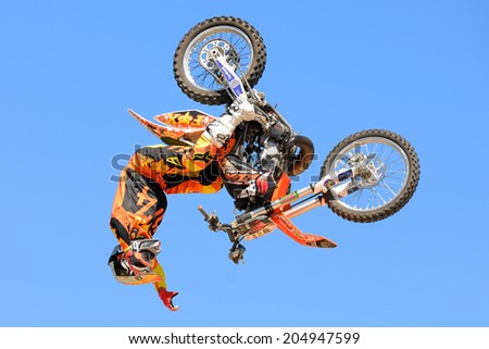 BARCELONA - JUN 28: A professional rider at the FMX (Freestyle Motocross) competition at LKXA Extreme Sports Barcelona Games on June 28, 2014 in Barcelona, Spain.