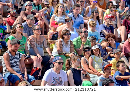 BARCELONA - JUN 28: Audience at LKXA Extreme Sports Barcelona Games on June 28, 2014 in Barcelona, Spain. - stock photo