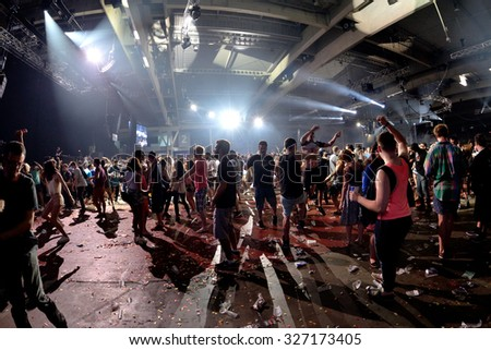 BARCELONA - JUN 19: Crowd dance in a concert at Sonar Festival on June 19, 2015 in Barcelona, Spain. - stock photo