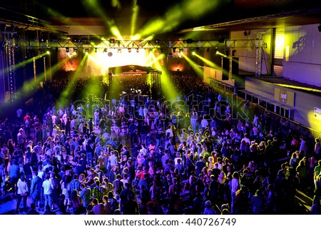 BARCELONA - JUN 18: Crowd in a concert at Sonar Festival on June 18, 2016 in Barcelona, Spain. - stock photo