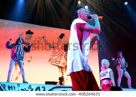 BARCELONA - JUN 19: Die Antwoord (rap rave band) in concert at Sonar Festival on June 19, 2015 in Barcelona, Spain.