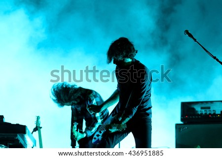 BARCELONA - JUN 2: Explosions in the Sky (instrumental rock band) perform in concert at Primavera Sound 2016 Festival on June 2, 2016 in Barcelona, Spain.