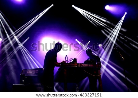 BARCELONA - JUN 2: Fasenuova (electronic band) perform in concert at Primavera Sound 2016 Festival on June 2, 2016 in Barcelona, Spain.