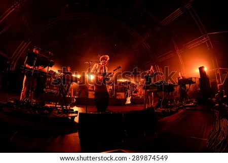 BARCELONA - JUN 19: Hot Chip (electronic music band) performs at Sonar Festival on June 19, 2015 in Barcelona, Spain.