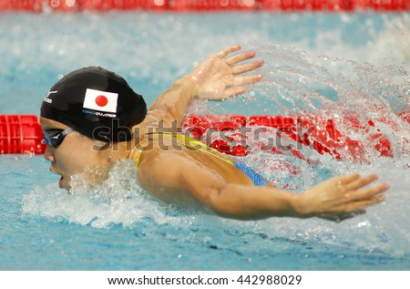 BARCELONA - JUN, 11: Japanese swimmer Natsumi Hoshi swimming Butterfly during the Trophy Ciutat de Barcelona in Sant Andreu Club, June 11, 2016 in Barcelona, Spain - stock photo