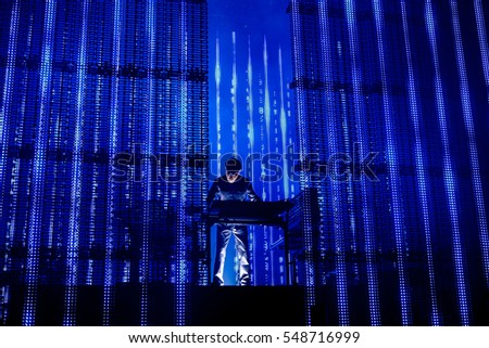 BARCELONA - JUN 17: Jean Michel Jarre (French composer, performer, and music producer) performs in concert at Sonar Festival on June 17, 2016 in Barcelona, Spain.