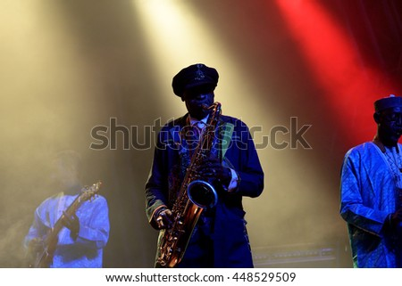 BARCELONA - JUN 4: Orchestra Baobab (Afro-Cuban-Caribbean fusion band) perform in concert at Primavera Sound 2016 Festival on June 4, 2016 in Barcelona, Spain.