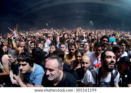 BARCELONA - JUN 20: People in a concert at Sonar Festival on June 20, 2015 in Barcelona, Spain. - stock photo