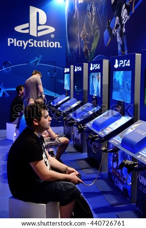 BARCELONA - JUN 16: People play to Uncharted 4 and Ratchet and Clank (Playstation 4 videogames) at Sonar Festival on June 16, 2016 in Barcelona, Spain. - stock photo
