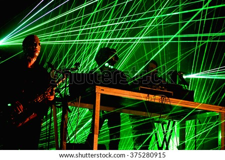 BARCELONA - JUN 20: The Chemical Brothers (electronic dance music band) live music performance at Sonar Festival on June 20, 2015 in Barcelona, Spain.