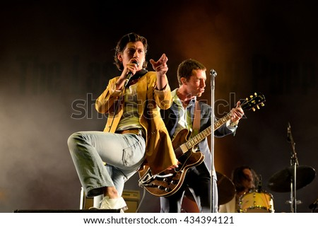 BARCELONA - JUN 3: The Last Shadow Puppets (band) perform in concert at Primavera Sound 2016 Festival on June 3, 2016 in Barcelona, Spain. - stock photo