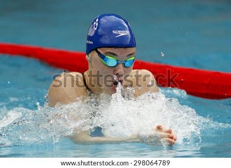 BARCELONA - JUNE, 11: British swimmer Katie Matts swimming breaststroke during the Trophy Ciutat de Barcelona in Sant Andreu Club, June 11, 2015 in Barcelona, Spain - stock photo