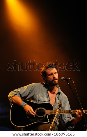 BARCELONA - JUNE 2: Father John Misty band performs at San Miguel Primavera Sound Festival on June 2, 2012 in Barcelona, Spain. - stock photo