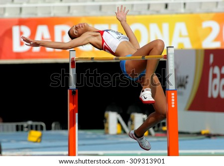 BARCELONA - JUNE, 13: Lucija Zubcic of Croatia jumping on Hight jump event of of the 20th World Junior Athletics Championships at the Olympic Stadium on July 13, 2012 in Barcelona, Spain