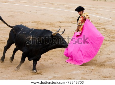 BARCELONA - JUNE 6: Morante de la Puebla in action during a bullfighting, typical Spanish tradition where a bullfighter kills a bull. June 6, 2010 in Barcelona, Spain.. - stock photo