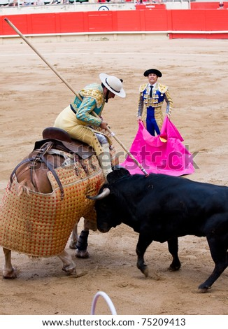 "BARCELONA - JUNE 6: Picador in action during a ""corrida de toros"", typical Spanish tradition where a ""torero"" kills a bull. June 6, 2010 in Barcelona (Spain). - stock photo"