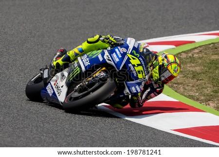 BARCELONA - JUNE 14: Valentino Rossi at GP CATALUNYA MOTO GP at Catalunya Circuit on June 14, 2014 at Barcelona, Spain.  - stock photo